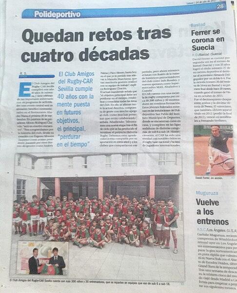 """""""HOY EN ESTADIO DEPORTIVO 40º ANIVERSARIO CAR"""""""