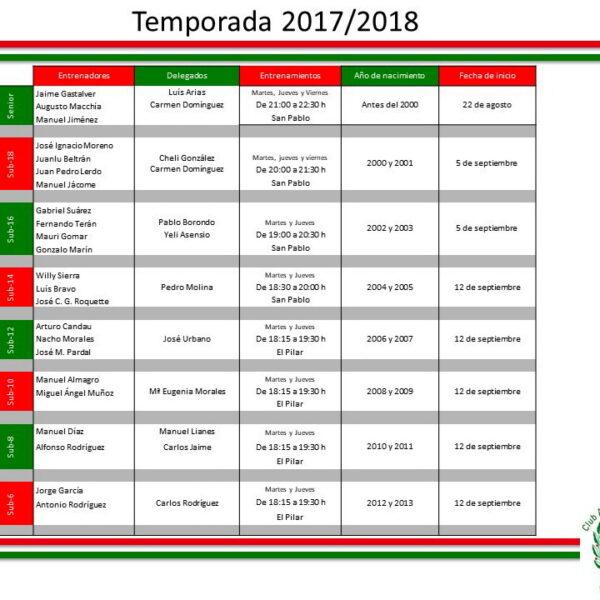 HORARIOS ENTRENADORES DELEGADOS 2017-2018